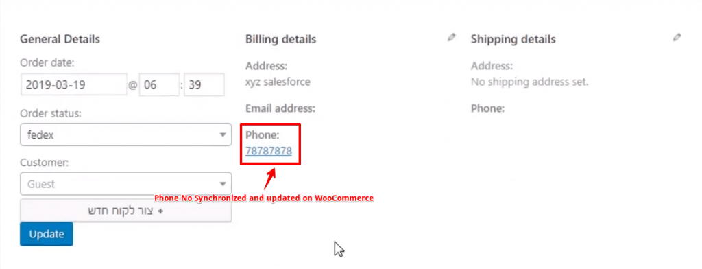Phone no updated on Woo Commerce